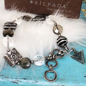 Silpada Smoky Quartz Crystal Beaded Bracelet B1275